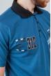Поло мужское с контрастным воротником №185F110 сине-черный