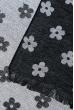 Палантин женский с цветочным принтом «Ромашки» 73PD017 черно-серый , ромашки
