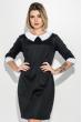 Платье женское со светлым воротником, рукав три четверти 72PD46 черно-белый