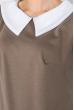 Платье женское со светлым воротником, рукав три четверти 72PD46 капучино-белый