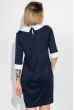 Платье женское со светлым воротником, рукав три четверти 72PD46 темно-синий - белый