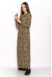 Макси платье в длинными рукавами 628F006 леопардовый