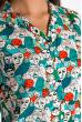 Блузка с принтом без руккавов 148P20 бирюзово-белый
