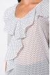 Блуза из шифона в горох 120PRAA1278 бело-синий