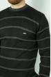 Джемпер в полоску 85F049 черно-серый