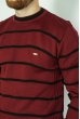 Джемпер в полоску 85F049 бордово-черный
