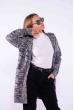 Кардиган женский вязанный меланж 184P7027 серо-черный