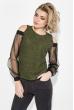 Блузка женская с приоткрытими плечами 64PD268 хаки