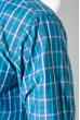 Рубашка мужская в клетку 50PD0053 клетка сине-бирюзовый