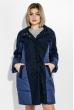 Пальто женское двухфактурное, стройный силуэт 69PD1056 темно-синий