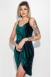 Платье женское  на тонких бретелях, элегантное  69PD982 изумрудный
