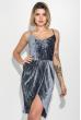 Платье женское  на тонких бретелях, элегантное  69PD982 серо-голубой