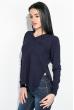 Пуловер женский, однотонный, базовый  122V001-1 темно-синий