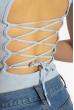 Боди женское с завязками на спине 629F1235 голубой