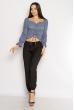 Блуза со сборкой 635F004 джинс