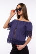 Блуза со спущенными плечами 207P6808 чернильный