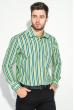 Рубашка мужская приталенная, в полоску 50PD28805 сине-салатовый