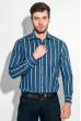 Рубашка мужская приталенная, в полоску 50PD28805 сине-голубой