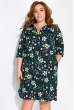 Платье-рубашка с цветочными мотивами 103P482 темно-синий принт