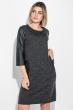 Платье женское (батал) с молнией на спине и боковыми карманами 74PD317 черный меланж