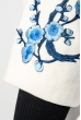 Пальто женское нашивки цветочных веток, рукав три четверти 69PD970 молочный