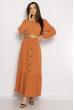 Легкое однотонное платье  640F001-1 персиковый