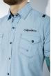 Рубашка в мелкую полоску 199P0116 бело-зеленый