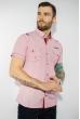 Рубашка в мелкую полоску 199P0116 бело-бордовый