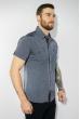 Рубашка в мелкую полоску 199P0116 сине-серый