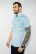 Рубашка в мелкую полоску 199P0116 бело-бирюзовый