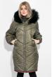 Пальто женское зимнее, стильный крой 69P01057 оливковый