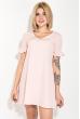 Платье женское, короткое, яркие цвета 74P101 пудровый