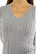 Пуловер женский с V-образным вырезом 618F401 стальной