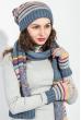 Комплект женский шапка, шарф и митенки в полоску 65PF3062 индиго-серый