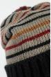 Комплект женский шапка, шарф и митенки в полоску 65PF3062 черно-серый