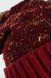Комплект женский шапка, шарф и митенки в полоску 65PF3062 бордово-коричневый