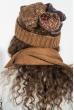 Комплект женский шапка, шарф и митенки в полоску 65PF3062 коричнево-синий