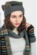 Комплект женский шапка, шарф и митенки в полоску 65PF3062 пепельно-черный