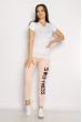 Лосины спортивные женские с надписью 636F004 розовый меланж