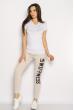 Лосины спортивные женские с надписью 636F004 бежевый меланж