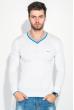 Пуловер мужской с полоской по ободку выреза 50PD301 бело-голубой