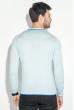 Пуловер мужской с полоской по ободку выреза 50PD301 голубой-синий