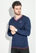 Пуловер мужской с полоской по ободку выреза 50PD301 темно-синий / красный