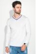 Пуловер мужской с полоской по ободку выреза 50PD301 бело-сиреневый
