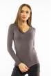 Пуловер женский с V-образным вырезом 618F070 грифельный