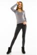 Пуловер женский с V-образным вырезом 618F070 серый