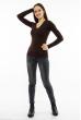 Пуловер женский с V-образным вырезом 618F070 шоколадный