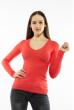 Пуловер женский с V-образным вырезом 618F070 ярко-коралловый