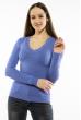 Пуловер женский с V-образным вырезом 618F070 васильковый
