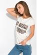 Принтованная женская футболка 147P016-15 молочный